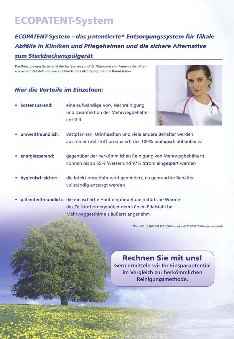 ECOPATENT®-System - das patentierte  Entsorgungssystem für fäkale Abfälle in Kliniken und Pflegeheimen und die sichere Alternative zum Steckbeckenspühlgerät